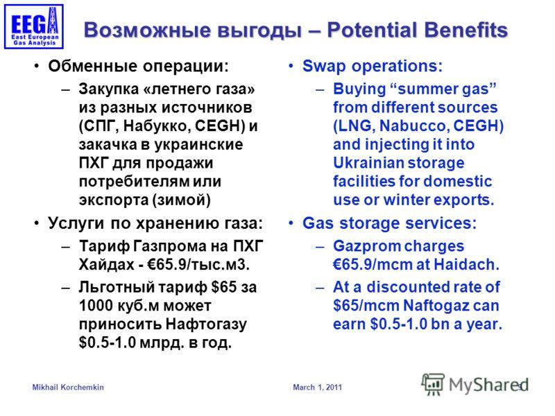 Возможные выгоды – Potential Benefits Обменные операции: –Закупка «летнего газа» из разных источников (СПГ, Набукко, CEGH) и закачка в украинские ПХГ для продажи потребителям или экспорта (зимой) Услуги по хранению газа: –Тариф Газпрома на ПХГ Хайдах