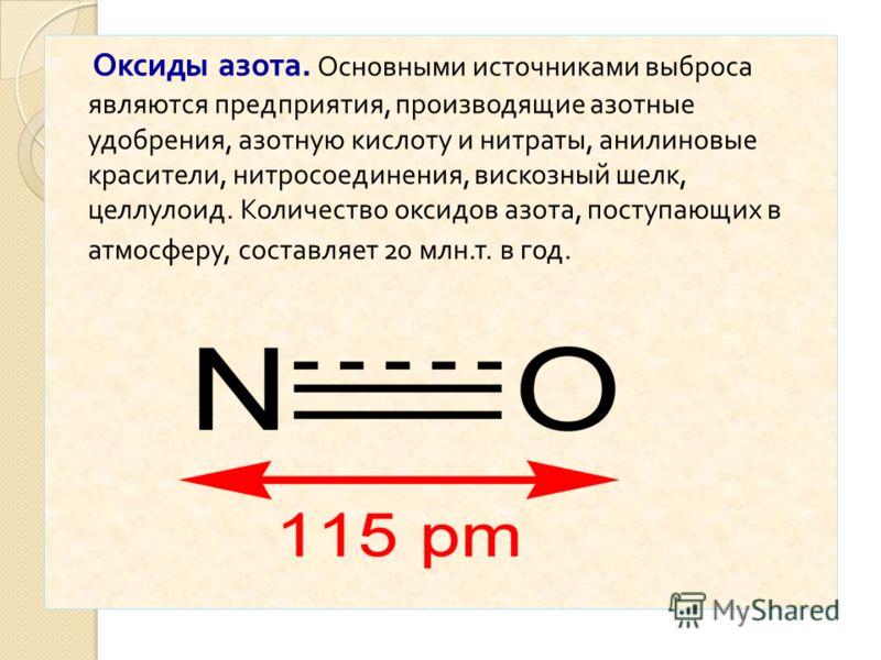 Оксиды азота. Основными источниками выброса являются предприятия, производящие азотные удобрения, азотную кислоту и нитраты, анилиновые красители, нитросоединения, вискозный шелк, целлулоид. Количество оксидов азота, поступающих в атмосферу, составля
