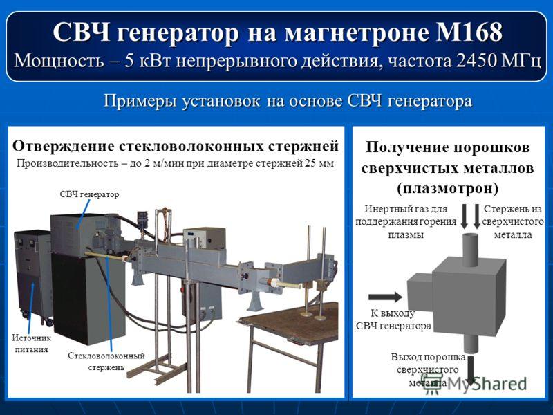 СВЧ генератор на магнетроне М168 Мощность – 5 кВт непрерывного действия, частота 2450 МГц Примеры установок на основе СВЧ генератора Отверждение стекловолоконных стержней Производительность – до 2 м/мин при диаметре стержней 25 мм СВЧ генератор Стекл
