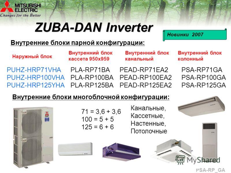 ZUBA-DAN Inverter Внутренние блоки парной конфигурации: PUHZ-HRP71VHA PUHZ-HRP100VHA PUHZ-HRP125YHA Новинки 2007 PLA-RP71BA PLA-RP100BA PLA-RP125BA PEAD-RP71EA2 PEAD-RP100EA2 PEAD-RP125EA2 Внутренние блоки многоблочной конфигурации: 71 = 3,6 + 3,6 10