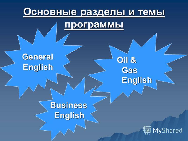 Основные разделы и темы программы GeneralEnglish Oil & Gas English Business English English