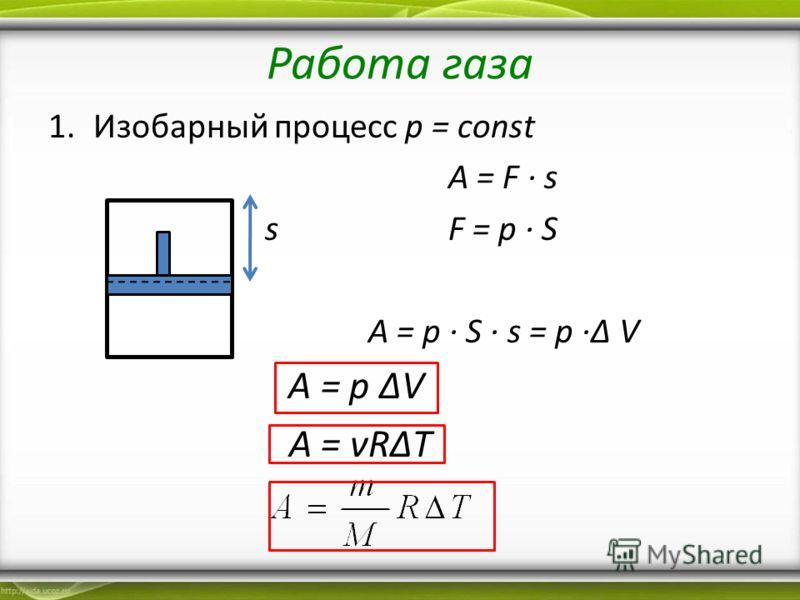 Работа газа 1.Изобарный процесс p = const A = F s s F = p S A = p S s = p V A = p V A = νRT