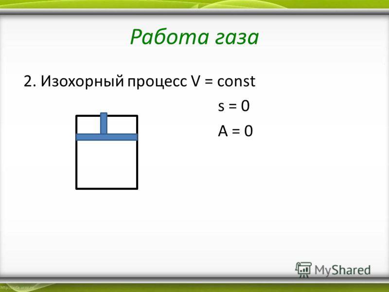 Работа газа 2. Изохорный процесс V = const s = 0 A = 0
