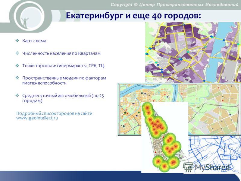 Екатеринбург и еще 40 городов: Карт-схема Численность населения по Кварталам Точки торговли: гипермаркеты, ТРК, ТЦ. Пространственные модели по факторам платежеспособности Среднесуточный автомобильный (по 25 городам) Подробный список городов на сайте