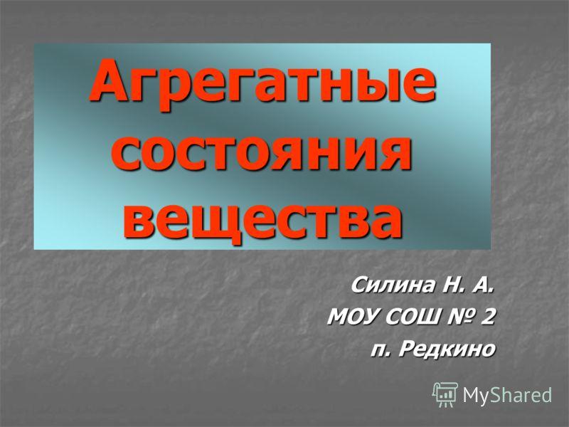 Агрегатные состояния вещества Силина Н. А. МОУ СОШ 2 п. Редкино