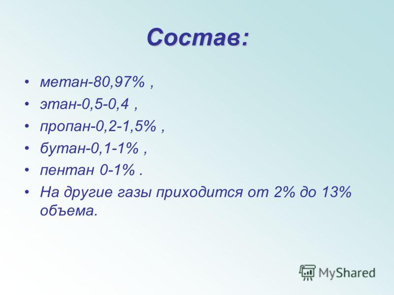 Состав: метан-80,97%, этан-0,5-0,4, пропан-0,2-1,5%, бутан-0,1-1%, пентан 0-1%. На другие газы приходится от 2% до 13% объема.