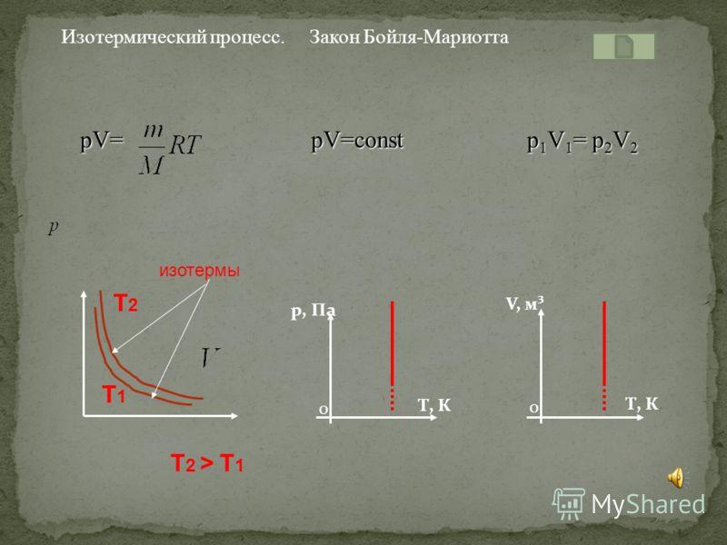 Какие величины сохраняются Как изменяются остальные величины Для газа данной массы произведение давления газа на его объем постоянно, если температура газа не меняется. PV = const. T = const, при V p, а V p