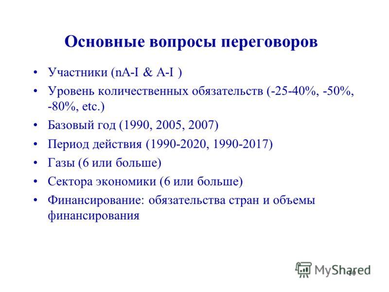 10 Основные вопросы переговоров Участники (nA-I & A-I ) Уровень количественных обязательств (-25-40%, -50%, -80%, etc.) Базовый год (1990, 2005, 2007) Период действия (1990-2020, 1990-2017) Газы (6 или больше) Сектора экономики (6 или больше) Финанси