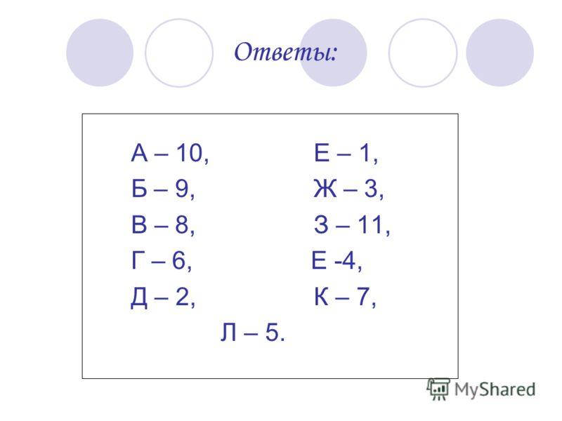 Ответы: А – 10, Е – 1, Б – 9, Ж – 3, В – 8, З – 11, Г – 6, Е -4, Д – 2, К – 7, Л – 5.