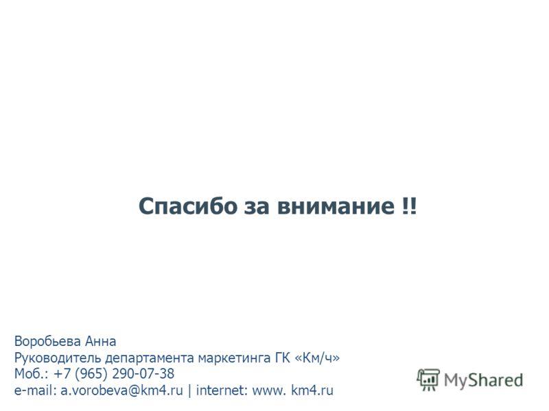 Спасибо за внимание !! Воробьева Анна Руководитель департамента маркетинга ГК «Км/ч» Моб.: +7 (965) 290-07-38 e-mail: a.vorobeva@km4.ru | internet: www. km4.ru
