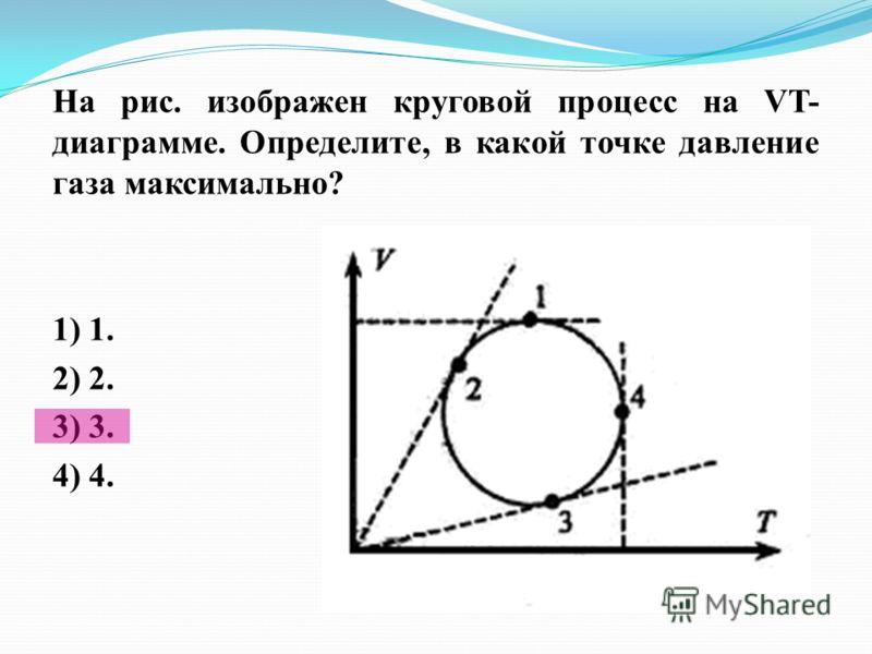 На рис. изображен круговой процесс на VT- диаграмме. Определите, в какой точке давление газа максимально? 1) 1. 2) 2. 3) 3.3) 3. 4) 4.