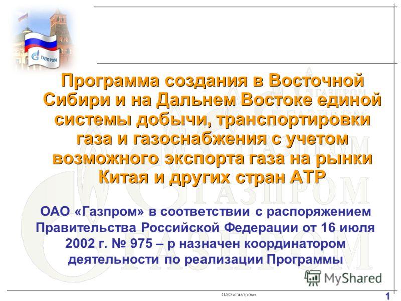 ОАО «Газпром» ОАО «Газпром» в соответствии с распоряжением Правительства Российской Федерации от 16 июля 2002 г. 975 – р назначен координатором деятельности по реализации Программы Программа создания в Восточной Сибири и на Дальнем Востоке единой сис
