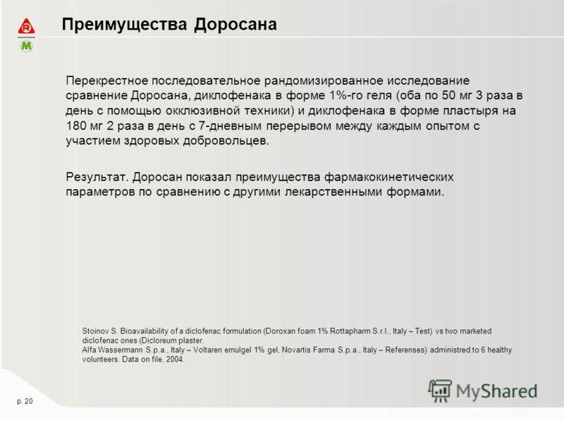 Преимущества Доросана Stoinov S. Bioavailability of a diclofenac formulation (Doroxan foam 1% Rottapharm S.r.l., Italy – Test) vs two marketed diclofenac ones (Dicloreum plaster. Alfa Wassermann S.p.a., Italy – Voltaren emulgel 1% gel, Novartis Farma