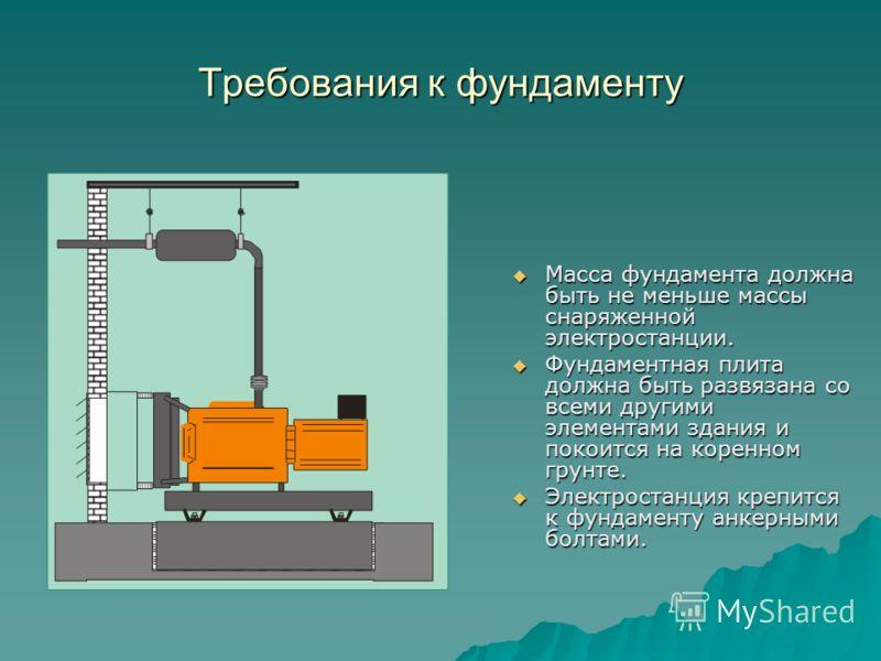 Требования к фундаменту Масса фундамента должна быть не меньше массы снаряженной электростанции. Масса фундамента должна быть не меньше массы снаряженной электростанции. Фундаментная плита должна быть развязана со всеми другими элементами здания и по