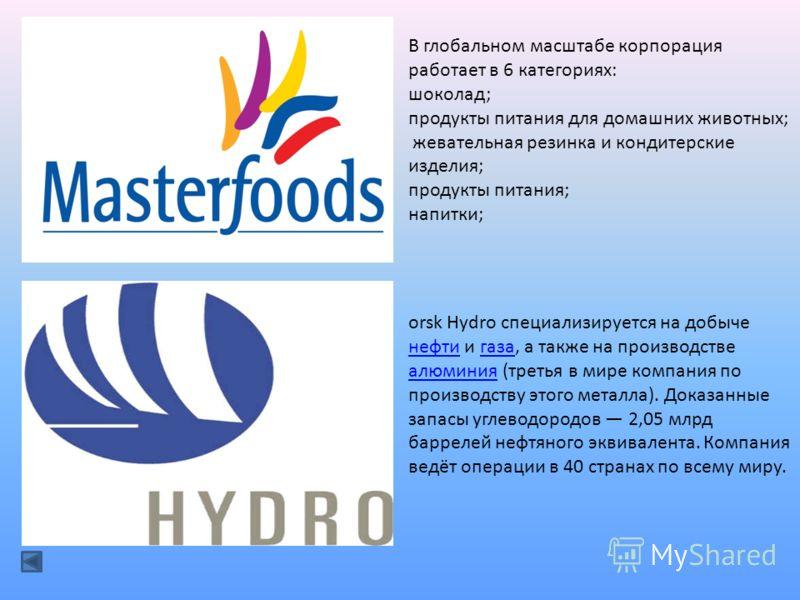 В глобальном масштабе корпорация работает в 6 категориях: шоколад; продукты питания для домашних животных; жевательная резинка и кондитерские изделия; продукты питания; напитки; orsk Hydro специализируется на добыче нефти и газа, а также на производс