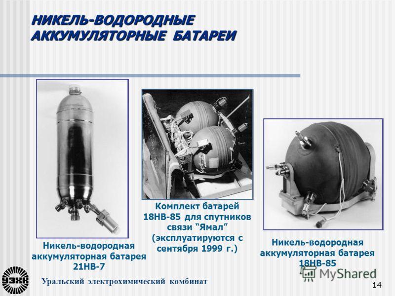 14 Никель-водородная аккумуляторная батарея 18НВ-85 Комплект батарей 18НВ-85 для спутников связи Ямал (эксплуатируются с сентября 1999 г.) Никель-водородная аккумуляторная батарея 21НВ-7 Уральский электрохимический комбинат НИКЕЛЬ-ВОДОРОДНЫЕ АККУМУЛЯ