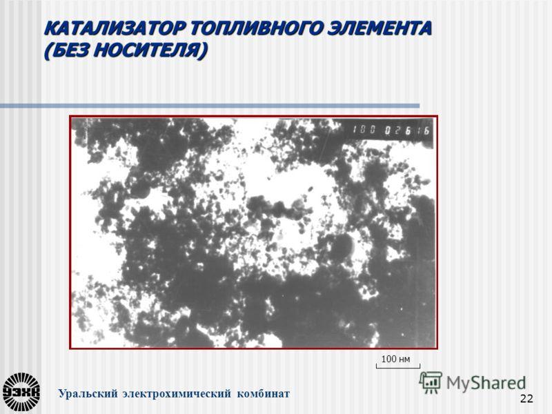 22 КАТАЛИЗАТОР ТОПЛИВНОГО ЭЛЕМЕНТА (БЕЗ НОСИТЕЛЯ) Уральский электрохимический комбинат 100 нм