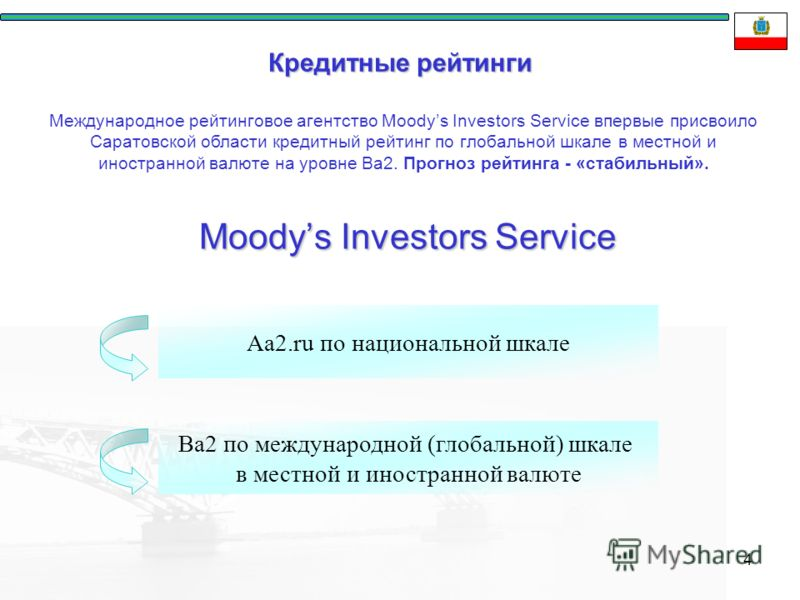4 Кредитные рейтинги Moodys Investors Service Ba2 по международной (глобальной) шкале в местной и иностранной валюте Aa2.ru по национальной шкале Международное рейтинговое агентство Moodys Investors Service впервые присвоило Саратовской области креди