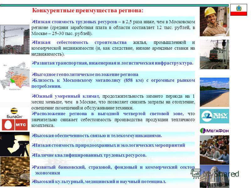 7 Низкая стоимость трудовых ресурсов – в 2,5 раза ниже, чем в Московском регионе (средняя заработная плата в области составляет 12 тыс. рублей, в Москве – 25-30 тыс. рублей). Низкая себестоимость строительства жилья, промышленной и коммерческой недви