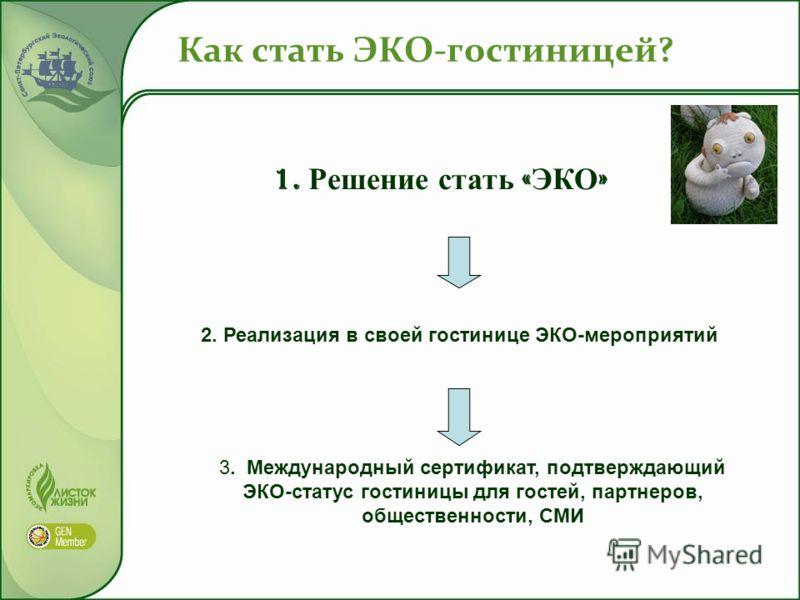 Как стать ЭКО-гостиницей? 2. Реализация в своей гостинице ЭКО-мероприятий 1. Решение стать « ЭКО » 3. Международный сертификат, подтверждающий ЭКО-статус гостиницы для гостей, партнеров, общественности, СМИ