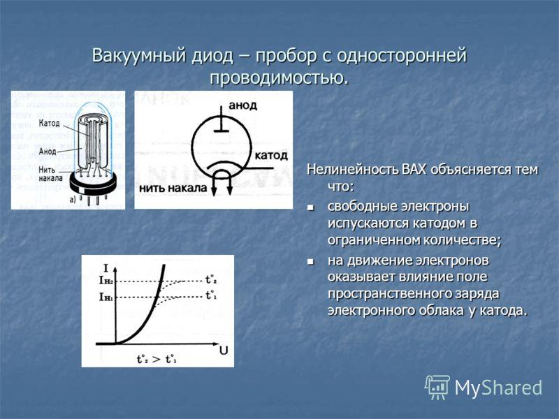 Вакуумный диод – пробор с односторонней проводимостью. Нелинейность ВАХ объясняется тем что: свободные электроны испускаются катодом в ограниченном количестве; свободные электроны испускаются катодом в ограниченном количестве; на движение электронов