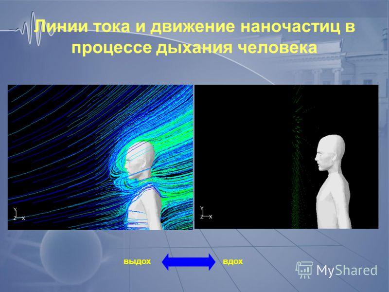 Линии тока и движение наночастиц в процессе дыхания человека вдох выдох