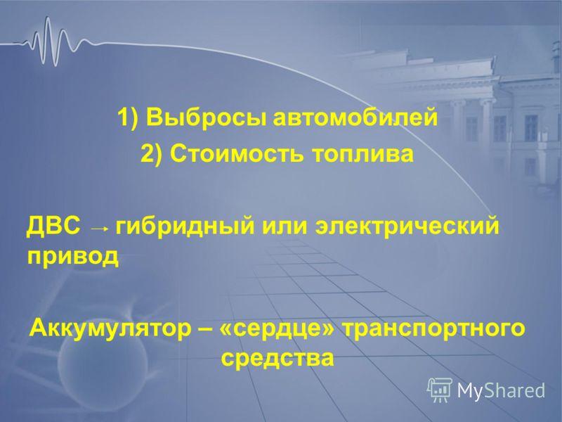 1) Выбросы автомобилей 2) Стоимость топлива ДВС гибридный или электрический привод Аккумулятор – «сердце» транспортного средства