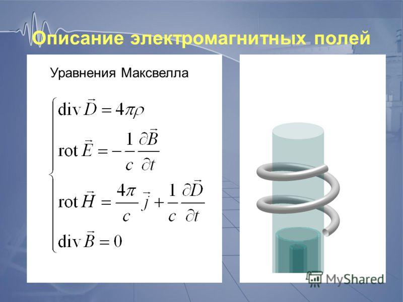 Описание электромагнитных полей Уравнения Максвелла