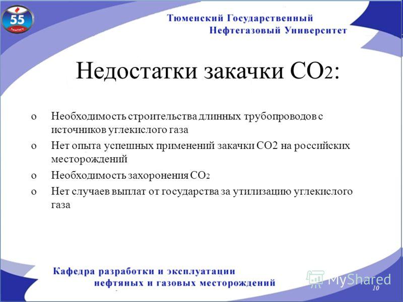 Недостатки закачки СО 2 : oНеобходимость строительства длинных трубопроводов с источников углекислого газа oНет опыта успешных применений закачки СО2 на российских месторождений oНеобходимость захоронения СО 2 oНет случаев выплат от государства за ут