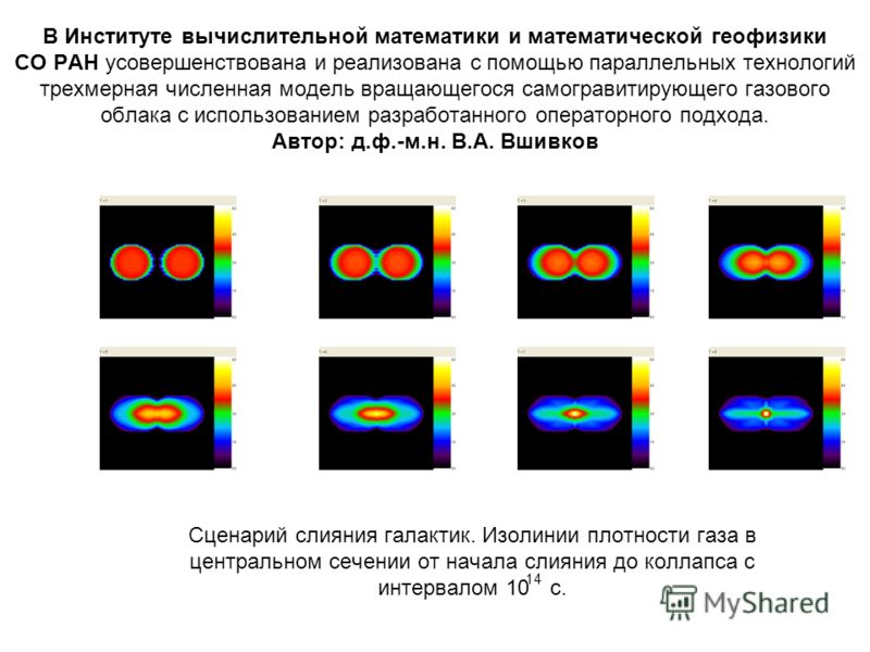 В Институте вычислительной математики и математической геофизики СО РАН усовершенствована и реализована с помощью параллельных технологий трехмерная численная модель вращающегося самогравитирующего газового облака с использованием разработанного опер