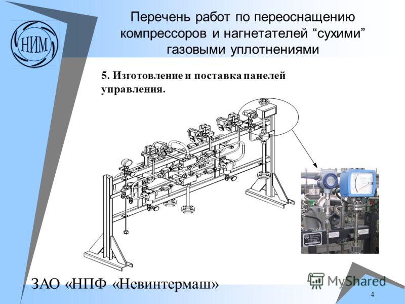 ЗАО «НПФ «Невинтермаш» 4 Перечень работ по переоснащению компрессоров и нагнетателей сухими газовыми уплотнениями 5. Изготовление и поставка панелей управления.