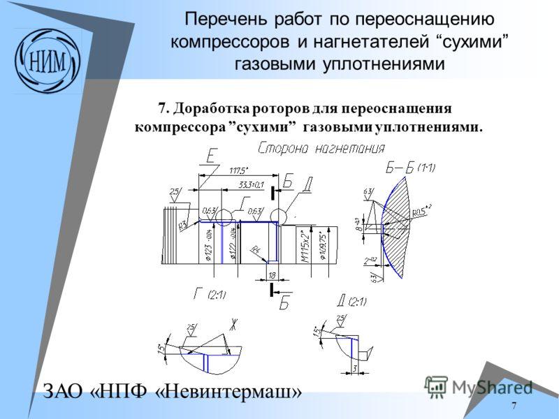 ЗАО «НПФ «Невинтермаш» 7 Перечень работ по переоснащению компрессоров и нагнетателей сухими газовыми уплотнениями 7. Доработка роторов для переоснащения компрессора сухими газовыми уплотнениями.