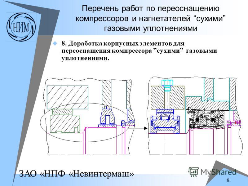 ЗАО «НПФ «Невинтермаш» 8 Перечень работ по переоснащению компрессоров и нагнетателей сухими газовыми уплотнениями 8. Доработка корпусных элементов для переоснащения компрессора сухими газовыми уплотнениями.