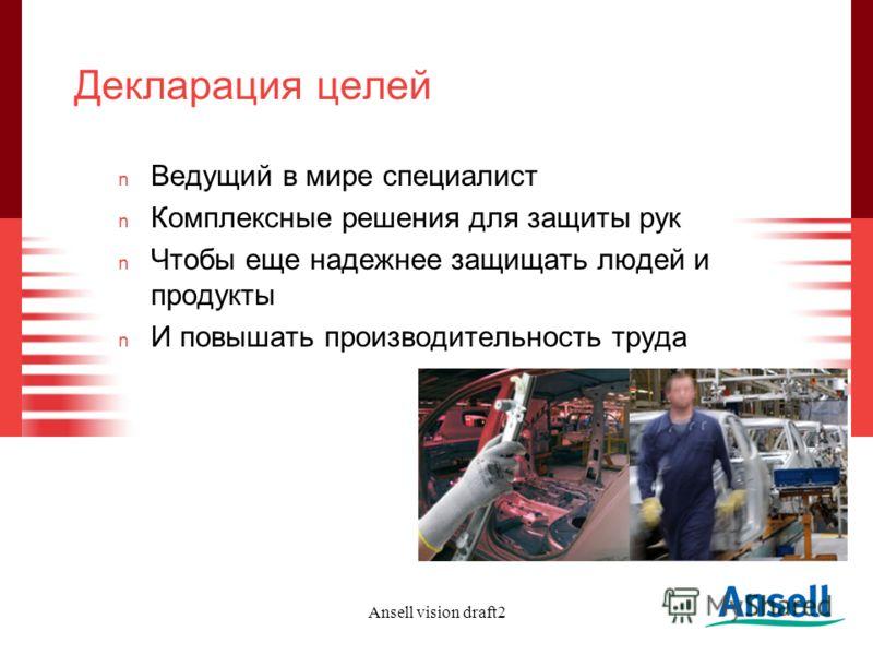 Ansell vision draft2 Декларация целей n Ведущий в мире специалист n Комплексные решения для защиты рук n Чтобы еще надежнее защищать людей и продукты n И повышать производительность труда