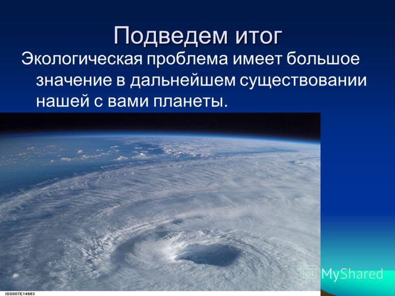 Подведем итог Экологическая проблема имеет большое значение в дальнейшем существовании нашей с вами планеты.