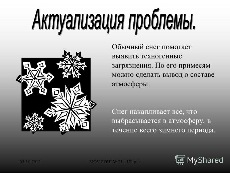28.07.2012МОУ СОШ 21 г. Шарья Обычный снег помогает выявить техногенные загрязнения. По его примесям можно сделать вывод о составе атмосферы. Снег накапливает все, что выбрасывается в атмосферу, в течение всего зимнего периода.