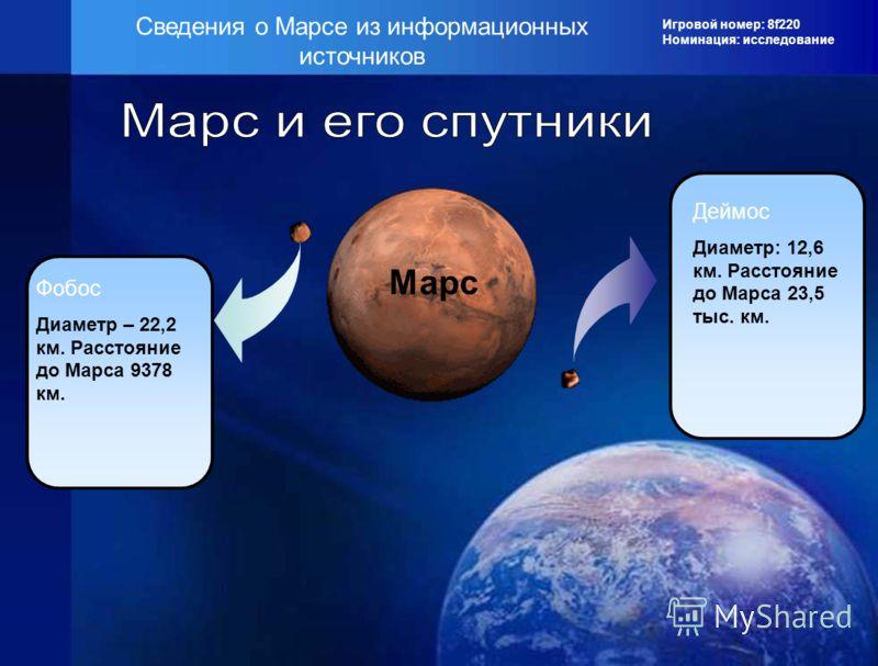 Игровой номер: 8f220 Номинация: исследование Сведения о Марсе из информационных источников Марс Фобос Диаметр – 22,2 км. Расстояние до Марса 9378 км. Деймос Диаметр: 12,6 км. Расстояние до Марса 23,5 тыс. км.