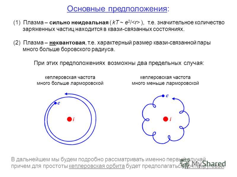 Основные предположения: (1) Плазма – сильно неидеальная ( kT ~ e 2 / ), т.е. значительное количество заряженных частиц находится в квази-связанных состояниях. (2) Плазма – неквантовая, т.е. характерный размер квази-связанной пары много больше боровск