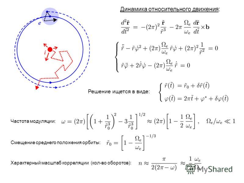 Динамика относительного движения: Решение ищется в виде: Частота модуляции: Смещение среднего положения орбиты: Характерный масштаб корреляции (кол-во оборотов):