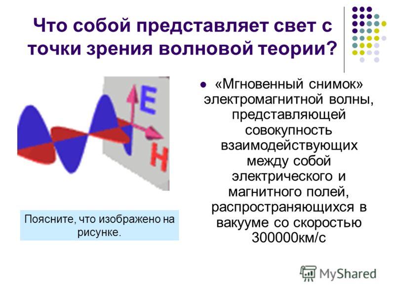 Что собой представляет свет с точки зрения волновой теории? «Мгновенный снимок» электромагнитной волны, представляющей совокупность взаимодействующих между собой электрического и магнитного полей, распространяющихся в вакууме со скоростью 300000км/с