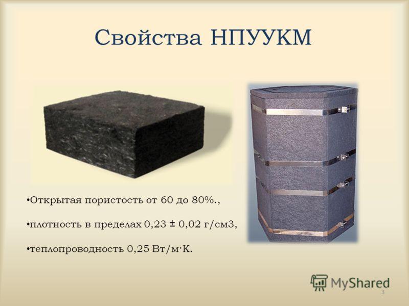 Свойства НПУУКМ 3 Открытая пористость от 60 до 80%., плотность в пределах 0,23 ± 0,02 г/см3, теплопроводность 0,25 Вт/м·К.