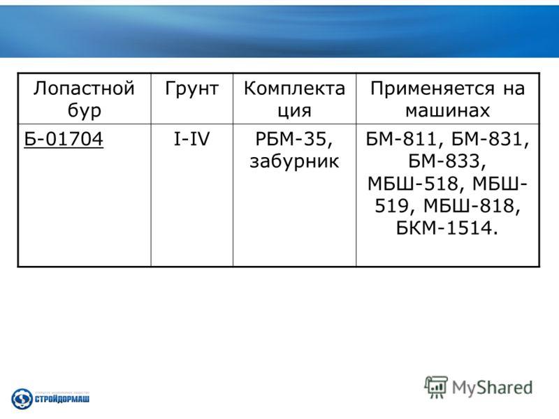 Лопастной бур ГрунтКомплекта ция Применяется на машинах Б-01704I-IVРБМ-35, забурник БМ-811, БМ-831, БМ-833, МБШ-518, МБШ- 519, МБШ-818, БКМ-1514.