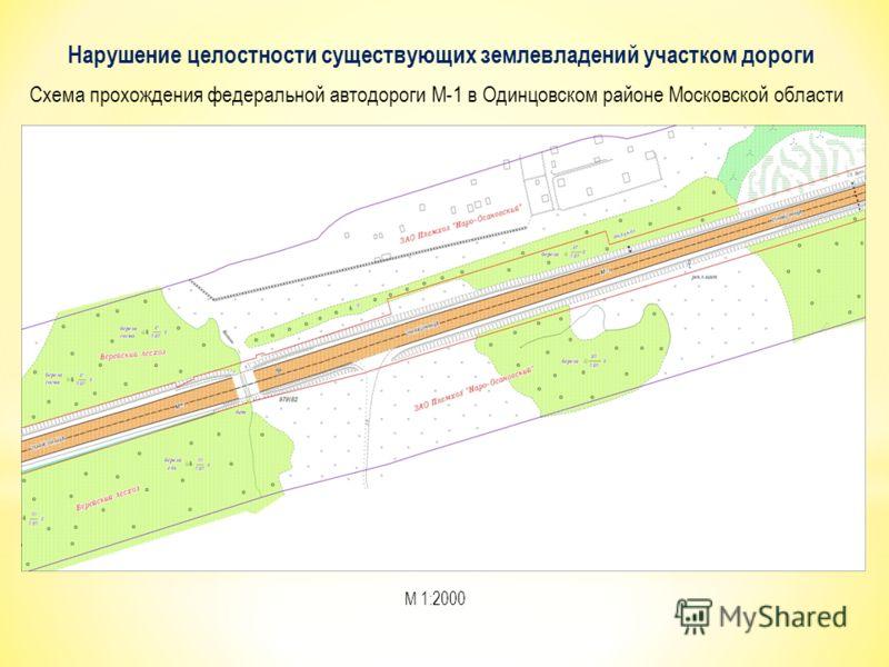 Нарушение целостности существующих землевладений участком дороги М 1:2000 Схема прохождения федеральной автодороги М-1 в Одинцовском районе Московской области