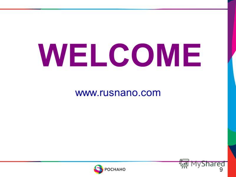 WELCOME www.rusnano.com 9