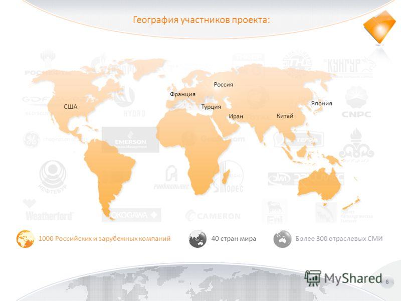 География участников проекта: 6 1000 Российских и зарубежных компаний40 стран мираБолее 300 отраслевых СМИ Россия Франция Турция Иран Китай Япония США