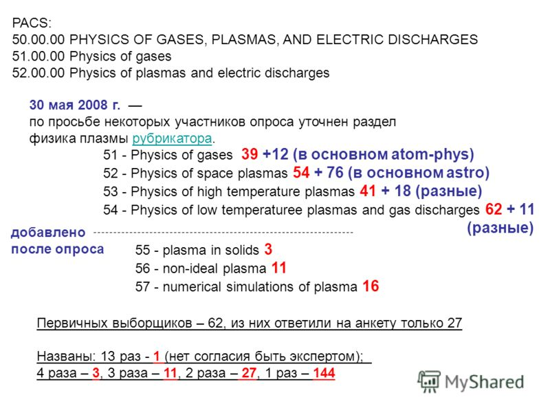 55 - plasma in solids 3 56 - non-ideal plasma 11 57 - numerical simulations of plasma 16 PACS: 50.00.00 PHYSICS OF GASES, PLASMAS, AND ELECTRIC DISCHARGES 51.00.00 Physics of gases 52.00.00 Physics of plasmas and electric discharges 30 мая 2008 г. по