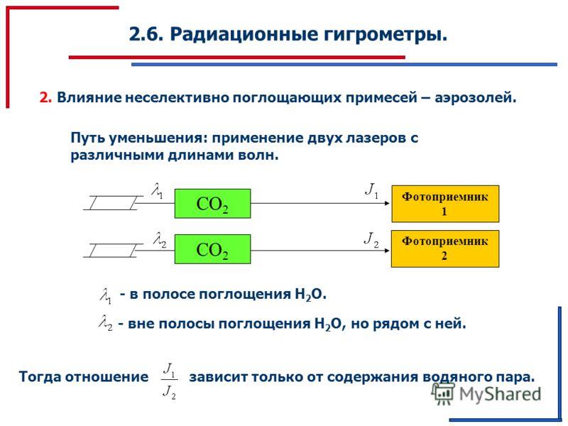 2.6. Радиационные гигрометры. 2. Влияние неселективно поглощающих примесей – аэрозолей. Путь уменьшения: применение двух лазеров с различными длинами волн. Фотоприемник 1 CO 2 Фотоприемник 2 CO 2 - в полосе поглощения Н 2 О. - вне полосы поглощения Н