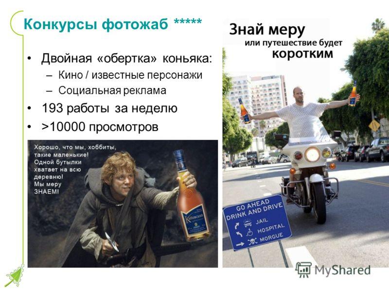 Конкурсы фотожаб ***** Двойная «обертка» коньяка: –Кино / известные персонажи –Социальная реклама 193 работы за неделю >10000 просмотров