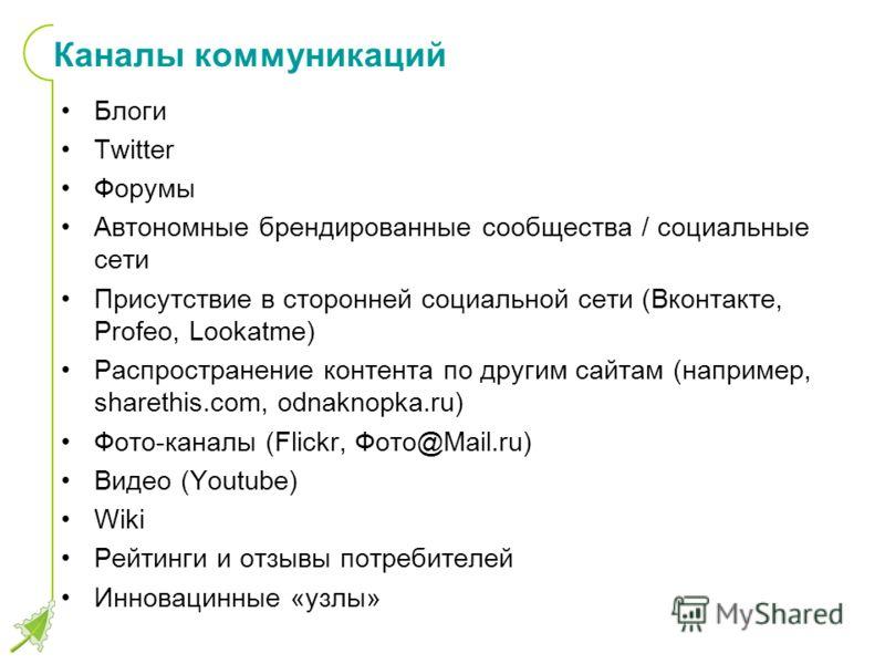 Каналы коммуникаций Блоги Twitter Форумы Автономные брендированные сообщества / социальные сети Присутствие в сторонней социальной сети (Вконтакте, Profeo, Lookatme) Распространение контента по другим сайтам (например, sharethis.com, odnaknopka.ru) Ф