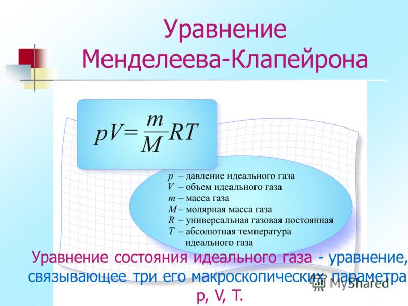 Уравнение Менделеева-Клапейрона Уравнение состояния идеального газа - уравнение, связывающее три его макроскопических параметра: p, V, T.